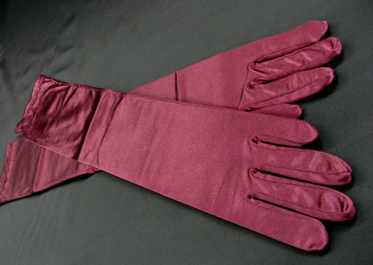 Fingerhandschuhe bordeaux, Satin, L