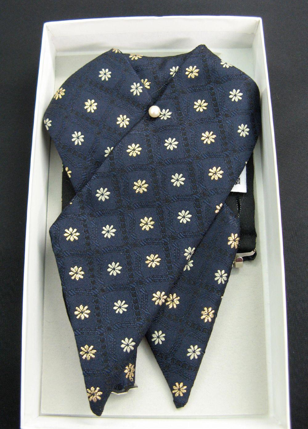 Plastron blau gemustert, Sternchen in grau/gold